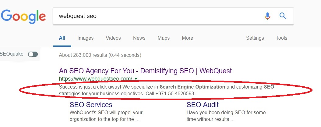 SEO META description-example WebQuest SEO dubai