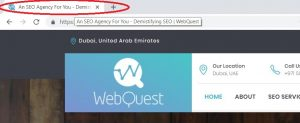 SEO title example WebQuest SEO dubai