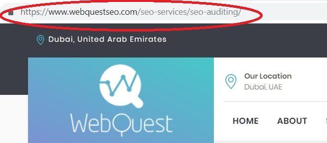 SEO url example WebQuest SEO dubai